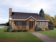 Country   Ranch   House Plan 49192. Like the outside.  Would add on a master suite to the right.