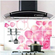 10 styles Wall Stickers Kitchen Waterproof Oilproof Sticker High Temperature Resistant Hearth Sticker kitchen paster Easy to Clean WS-24