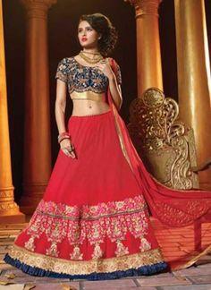 e0335b9401 Radiant Red Embroidery Work Georgette Net Wedding Lehenga Choli  http://www.angelnx