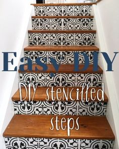 So many people have asked me to share how I stencilled my stairs.keep in mind I am rather new to how to posts. Wall Stencil Patterns, Stencil Wood, Stencil Diy, Stencils, Stenciled Stairs, Stenciled Floor, Cement Steps, Cement Walls, Flooring For Stairs