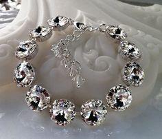 New Swarovski Rivoli Clear Crystal by HisJewelsCreations on Etsy, $48.00