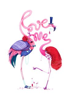 this is adorable, and also amazing #illustration #handdrawn #pink #flamingo #love
