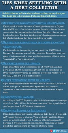 Good tips for negotiating a settlement with a debt collector. #debtcollector from www.creditness.com Via @creditness