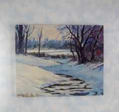 Vintage Oil Painting Original Canvas Signed 16 x 20 Winter Thaw. $125.00, via Etsy.