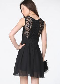 Vestido encaje combinado-Sheinside