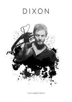daryl dixon twd the walking dead zombies amc walkers crossbow black white badass norman reedus bitch Movies & TV