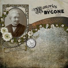 Memories From Bygone Days ~ beautiful heritage digi page. Love the curving, flower edged background papers that line-up with the edge at the oval photo's bottom. This leads the eye to the photo beautifully and gives the layout a nice visual flow.