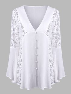 Lace Insert Flare Sleeve Crinkle Blouse - WHITE M - #bllusademujer #mujer #blusa #Blouse