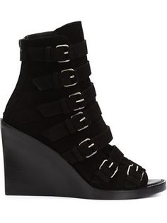strappy open toe boots