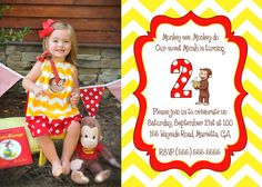 Printable Curious George Birthday Invitation - Custom Personalized!