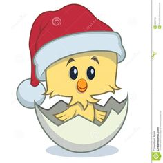 Cute cartoon chick hatching from an egg and wearing a Santa hat
