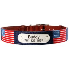 Love this patriotic collar with hand-sewn american flags. Perfect for the 4th of July!