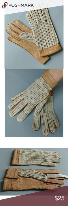 Vintage leather and lace gloves, M In great vintage condition, just a few minor stains that can be spot washed away. Wonderful soft leather with cream cotton crochet.  Size M, I normally wear a size S and think these would fit one size up.  Smoke free go.e shared with a small dog. Reasinable offers welcome, bundle and save! Accessories Gloves & Mittens