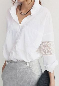 So Pretty! Love this Blouse! White Shirt with Lace Insert Sleeve #White #Lace #Blouse
