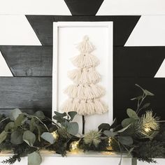 "Jen | the dotted bow on Instagram: ""Looks like there will be a lot of tassel making this weekend ✨ I love this yarn Christmas tree sign from last year to add dimension and…"" I Love This Yarn, My Love, Shop Signs, Tassels, Christmas Tree, Bows, Etsy Shop, Mantles, Frame"
