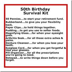 50th Birthday Survival Kit. Im getting all of this for my dad for his 50th.