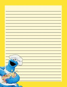 Note Paper Paper Journal, Scrapbook Journal, Journal Cards, Stationary Printable Free, Printable Paper, Lined Writing Paper, Writing Papers, Pretty Writing, Cookie Monster Party