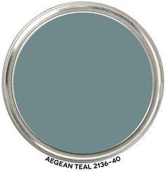 Benjamin Moore Aegean Teal paint color - trending as color of the year for 2021. #paintcolors #tealpaint #benjaminmooreaegeanteal