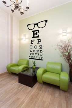 Glasses Decal, Eye Chart Decal, Wall Decal Letters, Eye D. Doctors Office Decor, Optometry Office, Eye Chart, Optical Shop, Clinic Design, Eye Doctor, Dorm Decorations, Store Design, Wall Decals