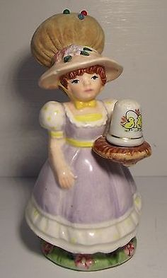 Vintage Made in Japan Schmid Ceramic Porcelain Lady Pin Cushion Hat Thimble Tray | eBay