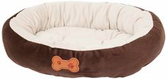 Aspen Pet Oval Cuddler Pet Bed, 20-Inch by 16-Inch, Chocolate Brown