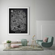BERLIN Germany Chalkboard Map Art Black and White Vintage City