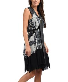Gray & Black Floral Front-Panel Dress