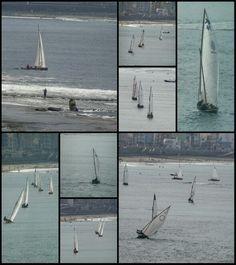 Campeonato de barquillos de  vela Latina en la playa de Las Canteras, Bahía de El Confital. 15/11/15. Las Palmas de Gran Canaria. Canarias.