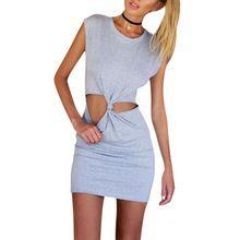 2015 Summer Women's Dress Dark Gray Cut Out Slim-cut Knot Casual Short Sleeve Bodycon Dress S-XL WQW1348