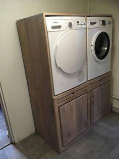 Garage Laundry Rooms, Laundry Area, Laundry Room Design, Backyard Cottage, Bath Design, Ikea Hack, Interior Design Living Room, Cupboard, Washing Machine