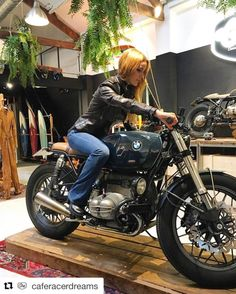 """komorebi-eus: """"Amazing place, amazing motorbike and an amazing woman!! Thanks friends!! #Repost @caferacerdreams with @repostapp ・・・ Our friends @ale_onieva and @fnicolasgonzalez were today in our shop doing some shopping. Thanks for the visit..."""