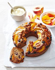Get into some Summer baking with this delicious peach & blueberry cake.