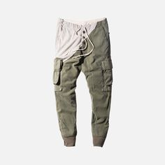 Greg Lauren Army Tent Slim Cargo Pant - Olive / Grey
