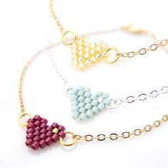 Heart Bracelet Small Heart Bracelet Mint by JeannieRichard on Etsy