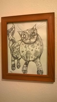 """Framed Drawing of a Cat . ink on paper . 8.5""""/11"""", by jack larson 2013 #Abstract"""
