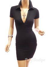 Black Polo Neck Cap Sleeve Casual Party Mini Dress, S