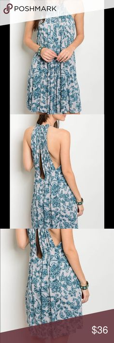 "Halter Neck Floral Dress | Sleeveless | Halter Neck | Floral Print | 100% Rayon |     🌸 L: 35""  B: 30""  W: 38"" Dresses"