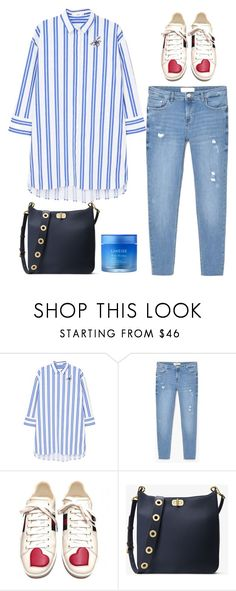 """Tomboy Chic 👖💙"" by niniko-cosmetics ❤ liked on Polyvore featuring MANGO, Gucci, MICHAEL Michael Kors and Laneige"