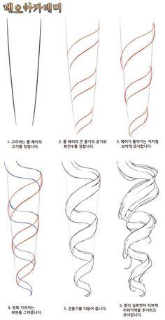 Digital Painting Tutorials, Digital Art Tutorial, Art Tutorials, Art Drawings Sketches Simple, Pencil Art Drawings, Drawing Reference Poses, Drawing Poses, Hair Reference, Manga Hair