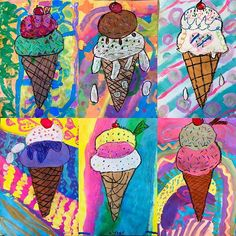 They screamed, I screamed, so we all painted ice-cream. Artwork by second grade. Kindergarten Art Projects, Classroom Art Projects, School Art Projects, Art Classroom, Kids Art Class, Art For Kids, Square One Art, 2nd Grade Art, Second Grade