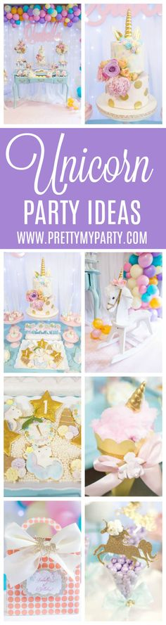 Magical Pastel Unicorn Party - Pretty My Party #unicornparty #unicornpartyideas #unicorn #unicornbirthdayparty