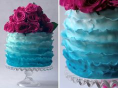 Turquoise ombre ruffle wedding cake, by @Olofson Design
