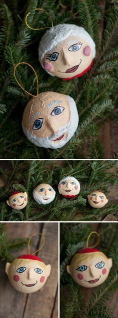 DIY Papier Maché Ornaments. Santa, Mrs. Claus & Elves!