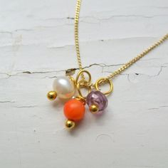 Coral, Pearl & Amethyst on Gold Trace Chain by Ting Low