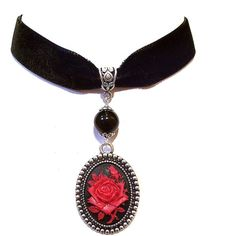 Black Velvet Choker Necklace w Red Rose Cameo ❤ liked on Polyvore featuring jewelry, necklaces, rose necklace, rose jewellery, velvet necklace, rose choker and cameo choker necklace