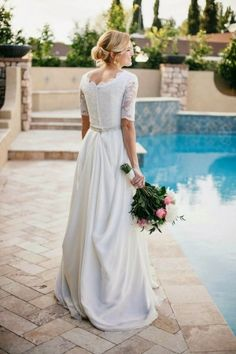 Beautiful Chiffon Lace Wedding Dress with Modest Sleeves - Weddinginspirations.me