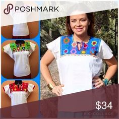 💜New Hand-Stitched Mexican Floral Blouse New handmade top, 100% cotton manta fabric (very fresh) short sleeves, tassels on neck, very cute Hand-Stitched embroidery with flowers. Size Medium. Various colors available. Cielito Lindo  Tops Blouses