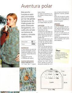 PATRON PARA HACER UN PONCHO Crochet Cardigan, Knitted Shawls, Knit Crochet, Knitting Patterns, Crochet Patterns, Poncho Shawl, Couture, Crochet Clothes, Baby Knitting
