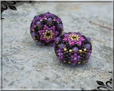 """Beaded bead """"La Patapouf"""" - free PDF tutorial by diagram. Written portion in French."""