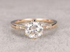 7.5mm Round Moissanite Engagement Ring Diamond Wedding Ring 14k Yellow Gold 6-Prongs Set